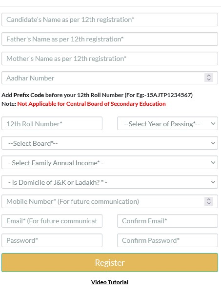 Fill in all the required details and click on Register