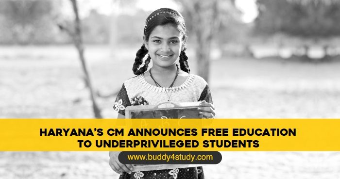 Haryana's CM Announces Free Education to Underprivileged Students