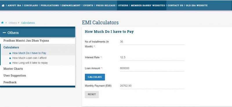 Education Loan repayment calculation