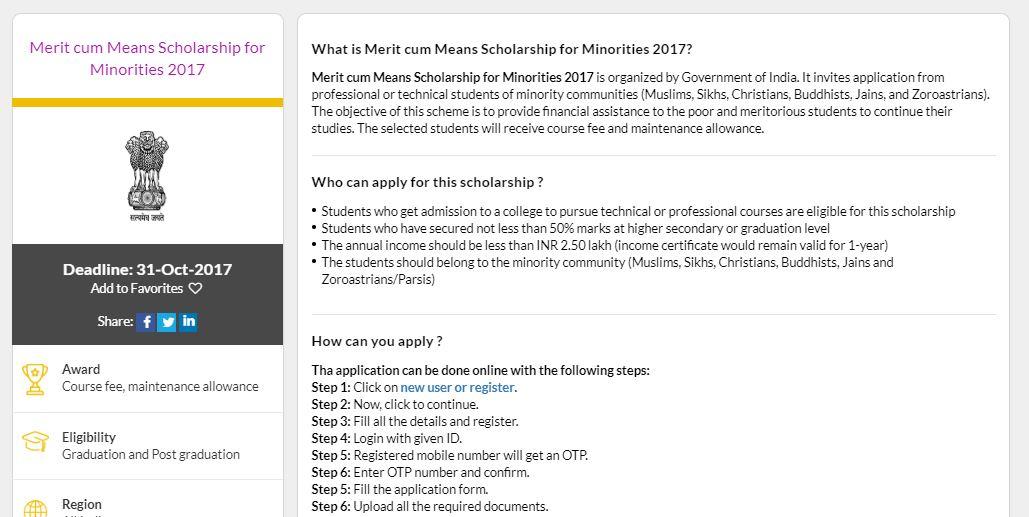 Merit cum Means Scholarship Scheme for Minorities