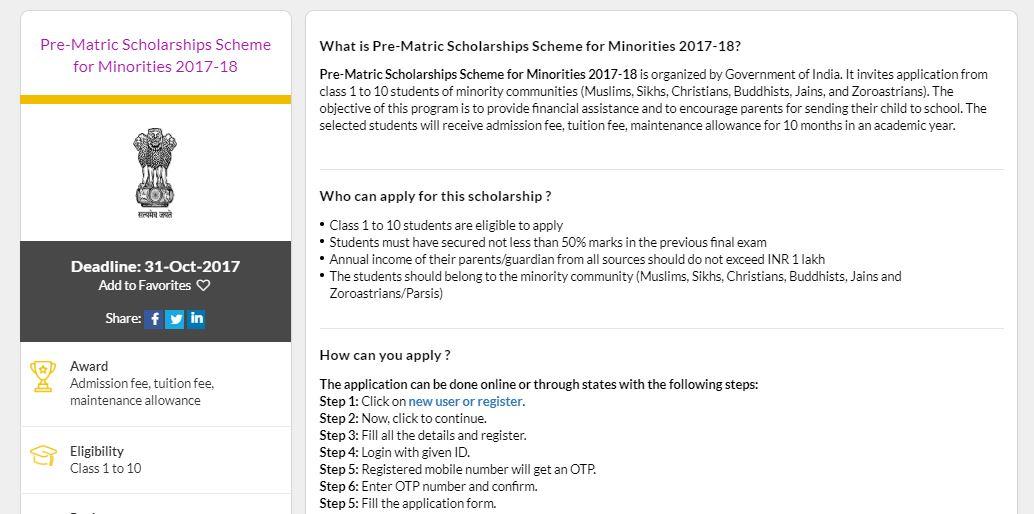 Pre Matric Scholarship Scheme for Minorities