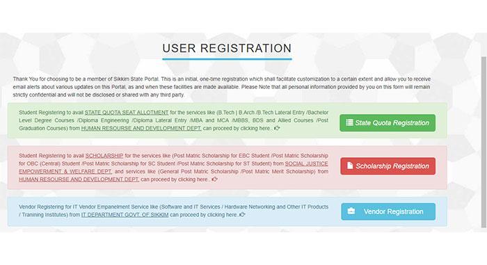 Sikkim Scholarship Portal User Registration Guidelines