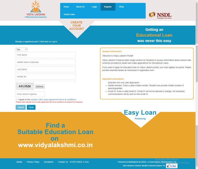 Vidyalakshmi Portal Registration Screen