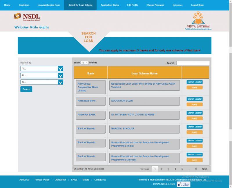 Vidya;akshmi Portal Education Loan Search Scheme