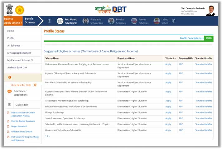 mahadbt scholarship schemes