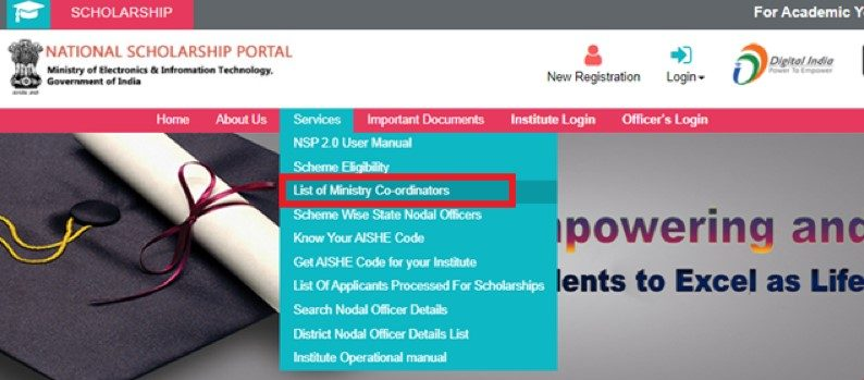 NSP Login - List of Ministry Coordinators
