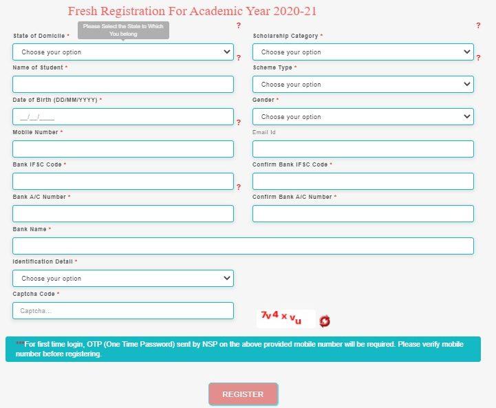 NSP Login - application form