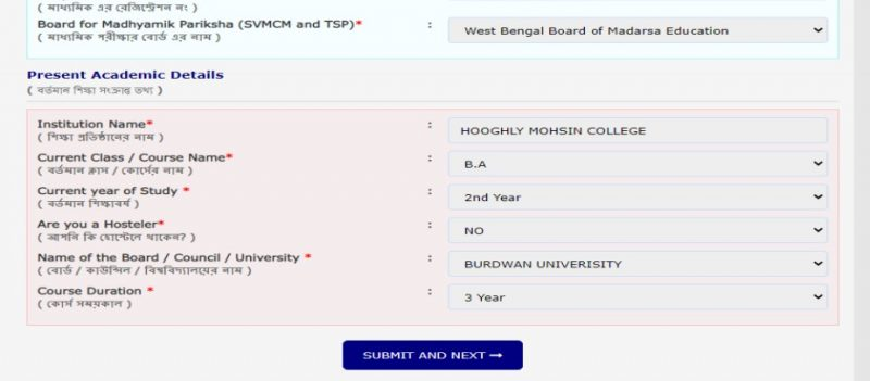 WBMDFC – Previous and current academic details