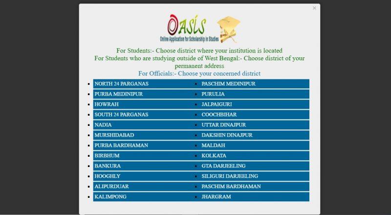 Oasis Scholarship Status – Choose the district