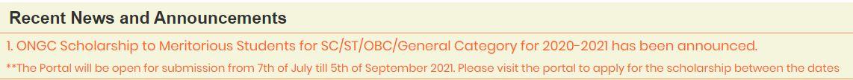 ONGC Scholarship 2020-21 - Deadline